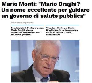Secondo Mario Monti, Draghi sarebbe un ottimo presidente del consiglio