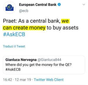 La BCE crea denaro dal nulla