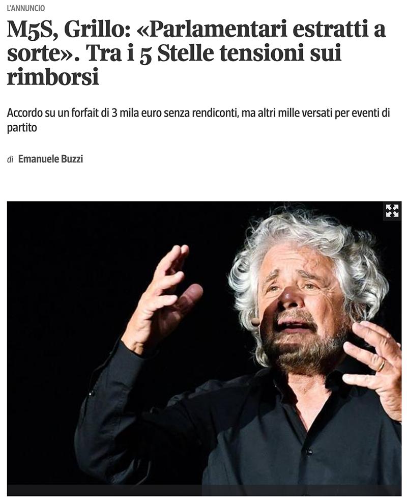 Beppe Grillo: estrarre a sorte i politici