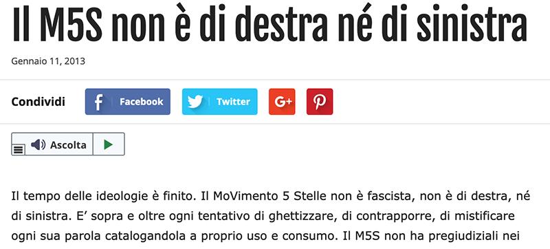 Beppe Grillo: il M5S non è né di destra, né di sinistra