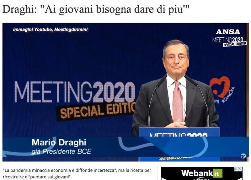 Mario Draghi: i giocani meritano di più. Sarà lui il nuovo salvatore della Patria?