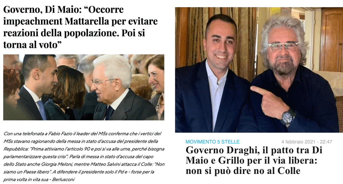 """Di Maio dall'impeachment a """"non si può dire di NO a Mattarella"""""""
