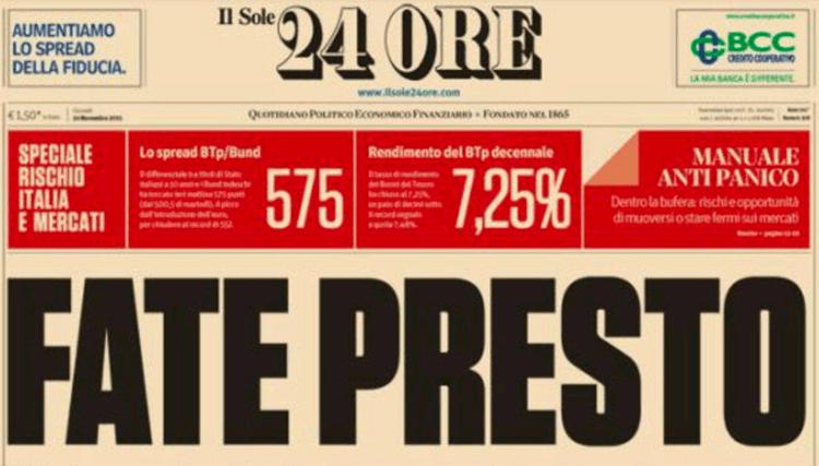 FATE PRESTO: quando il Sole 24 ore inneggiava a Mario Monti