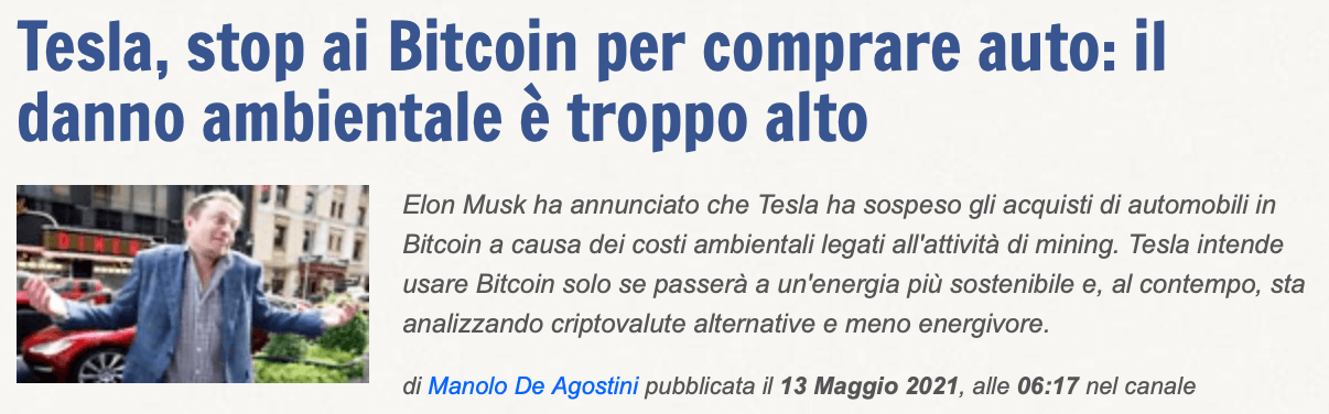 Tesla, stop a vendite in Bitcoin