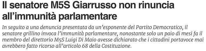 Giarrusso non rinuncia all'immunità parlamentare