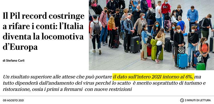 Boom del PIL italiano